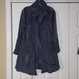Samuel Dong metallic trench coat, size xs